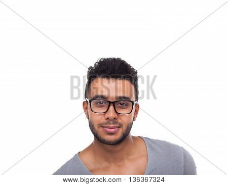 Casual Man Wear Eye Glasses Serious Young Businessman Handsome Guy Student Wear Shirt Jeans Isolated White Background