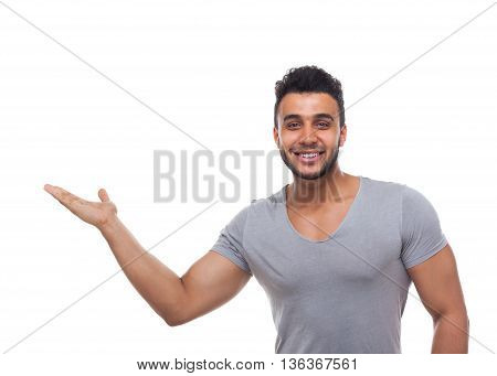 Casual Man Open Palm Gesture To Copy Space Happy Smile Young Handsome Guy Wear Shirt Jeans Isolated White Background