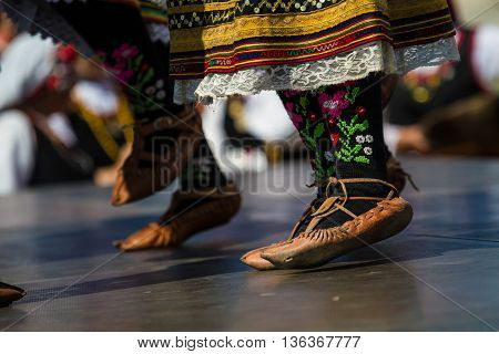 Women from Bulgaria in traditional specific costumes attended at folk dance festival