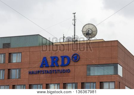 Berlin Germany - June 29 2016: The ARD Hauptstadtstudio (public sector TV broadcasting company) in the government district Berlin-Mitte.