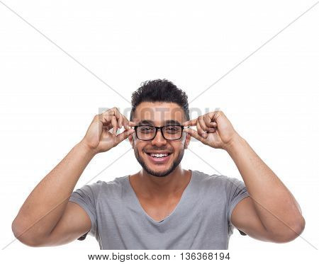 Casual Man Wear Eye Glasses Young Businessman Happy Smile Handsome Guy Student Wear Shirt Isolated White Background