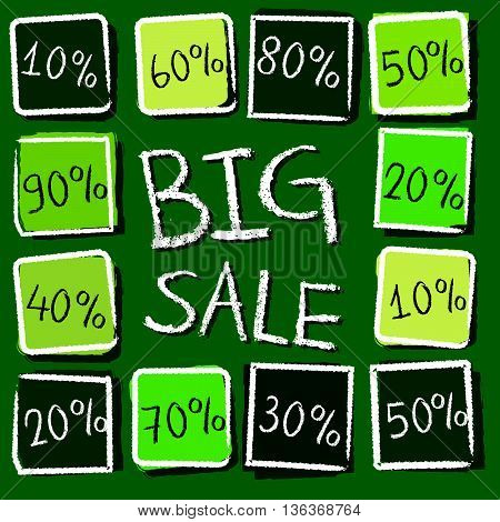 big sale and different percentages - retro style green label with text and squares, business concept, vector