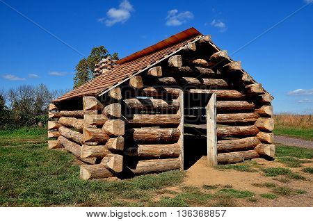 Valley Forge Pennsylvania - October 15 2015: Wooden log cabin replica which housed Continental Army soldiers during the 1777-78 Revolutionary War winter encampment at Valley Forge