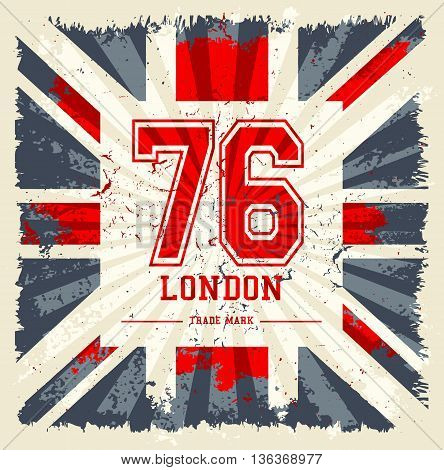 Vintage United Kingdom flag tee print vector design