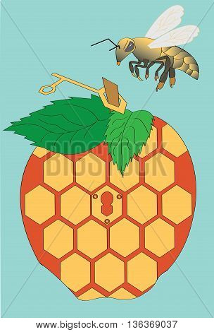 Illustration of a bee flying to its apple-shaped beehive.