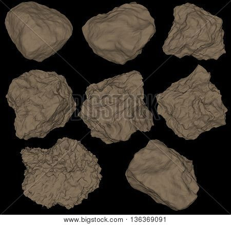 Vector set Rocks and stones. Rocks and stones single or piled for damage and rubble for game art architecture design on black