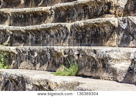 Sound reflection stairs in amphitheater in ancient Hierapolis Pamukkale Turkey