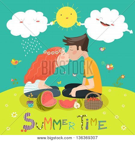 Young couple kissing at a meadow . Vector illustration
