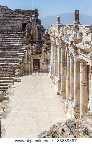 Scene in the amphitheater in ancient Hierapolis Pamukkale Turkey
