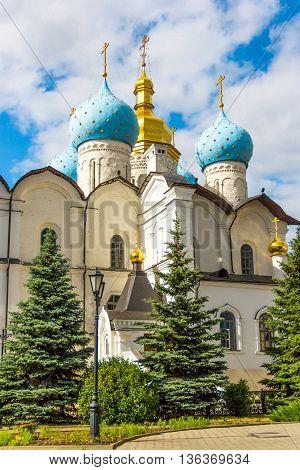Blagoveshchensky cathedral in the Kazan's Kremlin with cyan domn