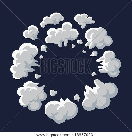 Smoke and dust explosion cartoon frame vector