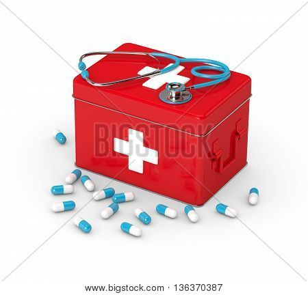 3D Rendered First Aid Kit With Pills And Stethoscope