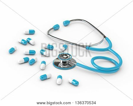 3D Rendered Stethoscope With Pills Isolated Over White