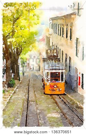 Digital watercolour of a tramway in Lisbon, Portugal