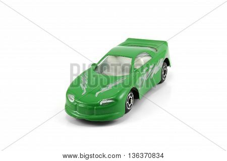 green car deportive parked isolated white background