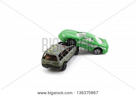 collision two car green isolated white background