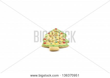 tree cookie decorated chrismas isolated white background