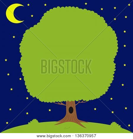 Green tree on meadow, moon is shining, on the background of the starry night sky