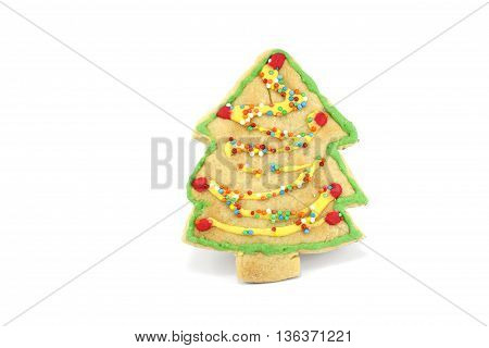 cookie decorated tree chrismas isolated white background