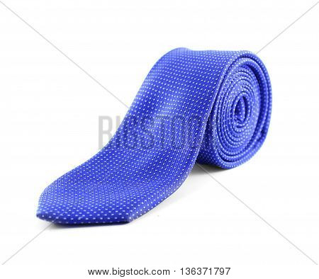 blue tie rolled up isolated white background