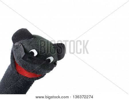 puppet with glasses have open mouth, isolated white background
