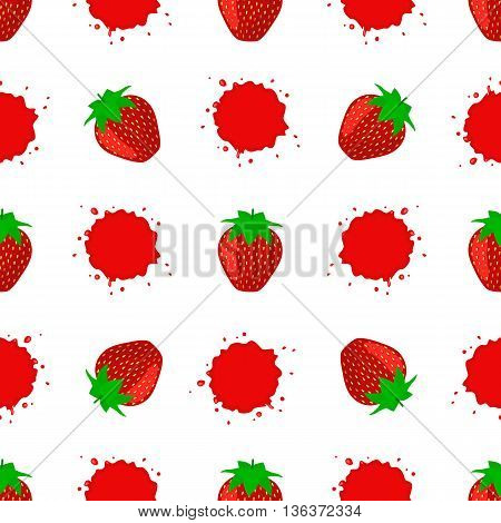 Seamless Pattern with Juicy Ripe Strawberry in Vector Format. Juicy strawberry for your design.