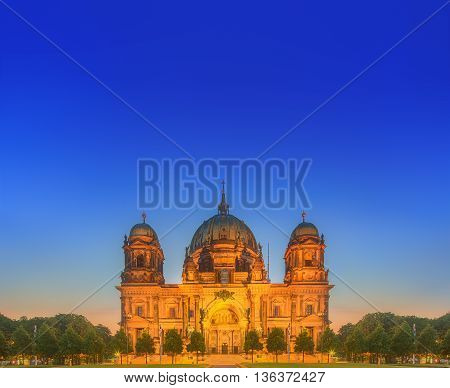 Berlin Cathedral, or Berliner Dom and Fountain in the Lustgarten park, Germany.