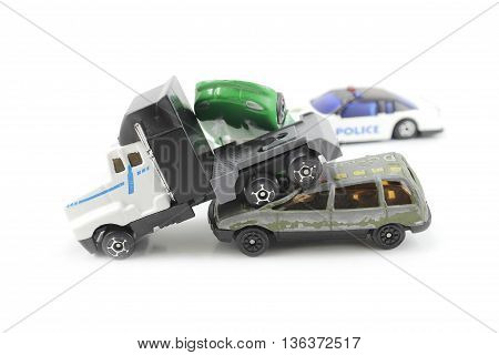 triple collision, police present isolated white background
