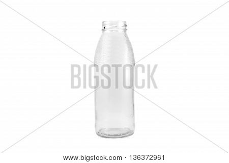 transparent bottle wide mouth isolated white background