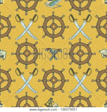 Pirate Seamless Vector Pattern with Retro Ship Steering Wheels, Sabers and Muskets on a Yellow Background