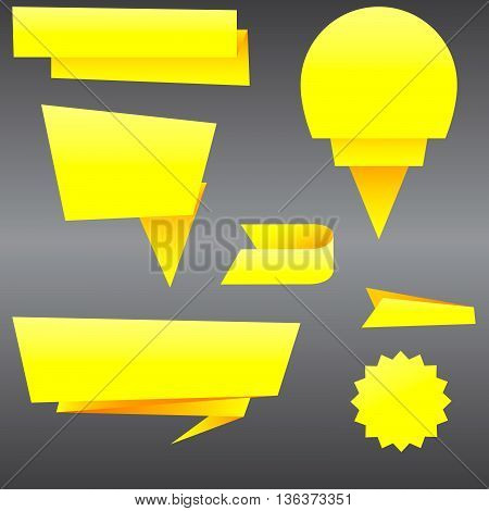 Origami of yellow paper. Paper templates for sale banner. Set of origami shapes for your sale banners. vector illustration.
