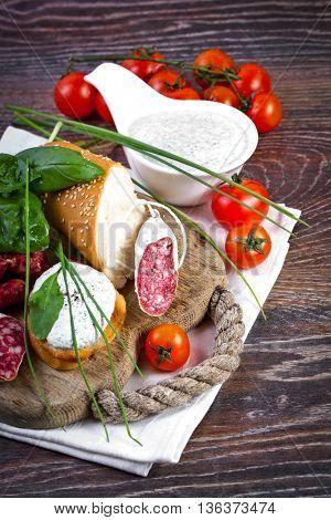 Bruschetta sandwiches with cottage cheese