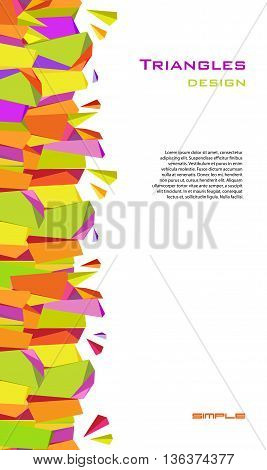 Abstract geometric background. Vertical colorful border geometric design. Orange, yellow, green and purple geometric abstract triangles border design in white background. Vector stock illustration.