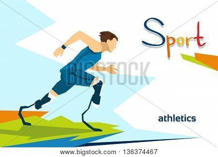 Disabled Runner Sport Competition Flat Vector Illustration