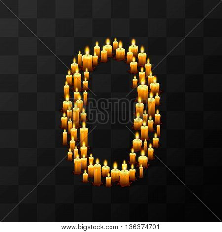 Tribulation numbers 0 of candles, transparent background, template design element