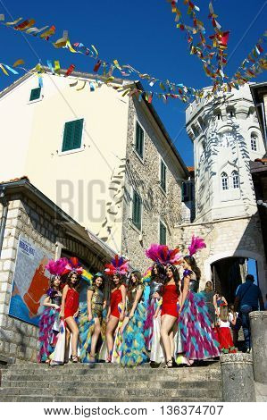 Montenegro, Herceg Novi - 04/06/2016: A group of girls-dancers from the club