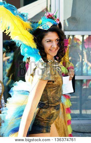 Montenegro, Herceg Novi - 04/06/2016: Girl in carnival costume of the dance club