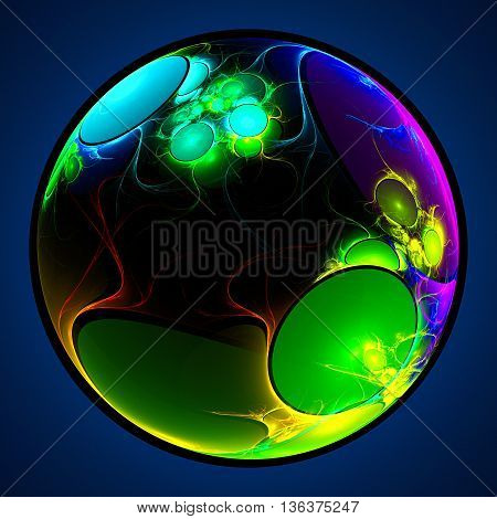 Soap bubble. Alien planet from space. 3D illustration. Sacred geometry. Mysterious psychedelic relaxation pattern. Fractal abstract texture. Digital artwork graphic design astrology alchemy magic.