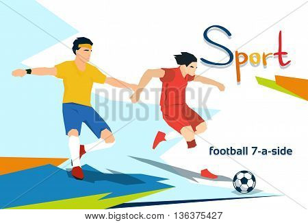 Disabled Athlete Play Football Sport Competition Flat Vector Illustration