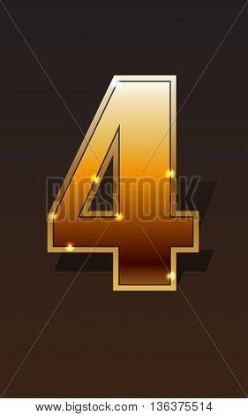 Golden number four on dark background isolated. Golden alphabet. Vector illustration number four for golden best choice design. Vector illustration stock vector.