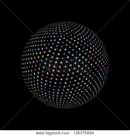 Abstract Sphere Element with Color Star Pattern Envelope Isolated on Black Background