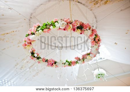 Decorative Range Of Artificial Flowers On The Wedding Arch
