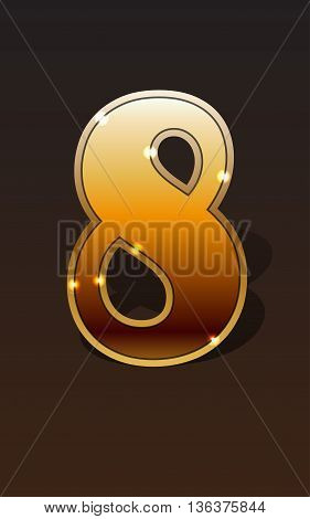 Golden number eight on dark background isolated. Golden alphabet. Vector illustration number eight for golden best choice design. Vector illustration stock vector.