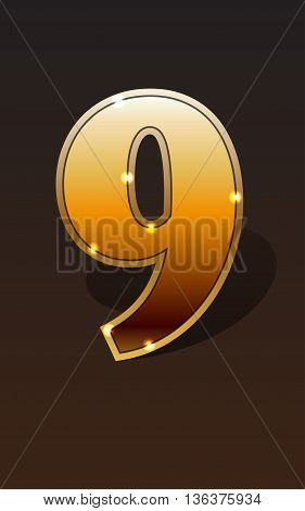 Golden number nine on dark background isolated. Golden alphabet. Vector illustration number nine for golden best choice design. Vector illustration stock vector.