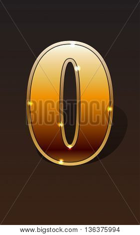 Golden number zero or null on dark background isolated. Golden alphabet. Vector illustration number zero or null for golden best choice design. Vector illustration stock vector.
