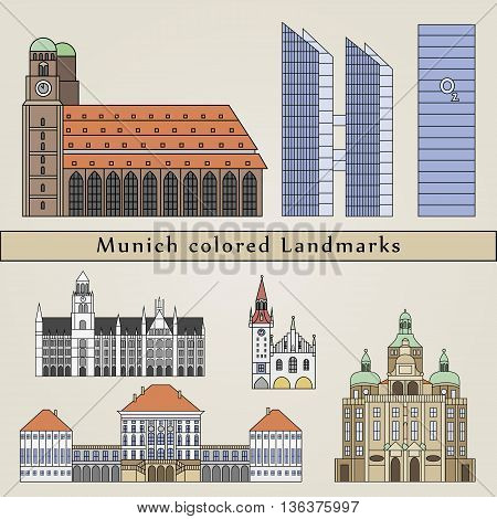Munich Colored Landmarks
