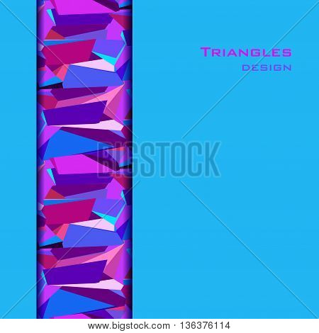 Blue abstract geometric background. Vertical blue border geometric design. Blue, red, pink and purple geometric abstract triangles border design background. Vector illustration.