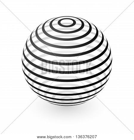 Abstract Transparent Sphere Element with Striped Pattern Envelope Isolated on White Background
