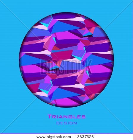 Circle frame blue border geometric design. Blue abstract geometric background. Blue, red, pink and purple geometric abstract triangles border design background. Vector illustration.