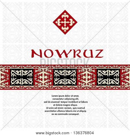 Nowruz. Spring funny holiday. Greeting card with asian ornaments. There are place for text.